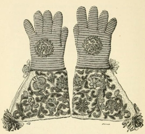 A nineteenth-century drawing of a pair of gloves formerly owned by Louis XIII.