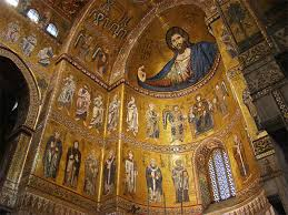 The mosaics in the cathedral of Monreale.
