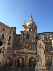 The so-called 'Fountain of Shame' outside the municipal building in Palermo: the shame derives from the nudity of the statues rather than the city's reputation for robbery.