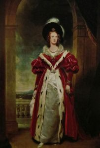 Queen Adelaide, with hugely puffed sleeves and feathered hat.