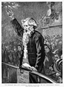William Booth preaching. The Anglican church responded to the crusades of the Salvation Army and other non-conformist churches with their own 'missions'.