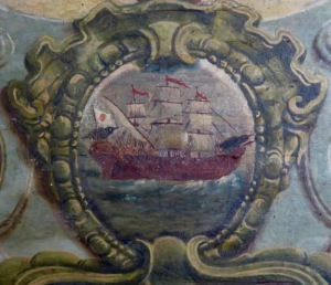 In this image from the sacristy, the ravens on the boat are depicted somewhat larger than life-size.