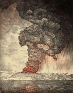 A lithograph of c. 1888 illustrating the eruption of Krakatoa.