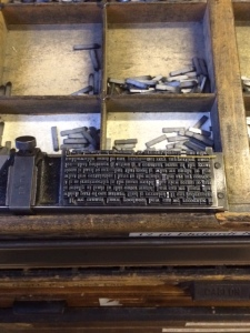 A stick of Ehrhardt type, sitting on the lower case.