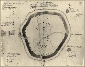 The antiwuarian John Aubrey's plan of Avebury in 1663.