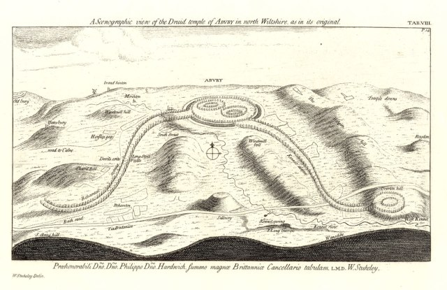 William Stukeley's reconstruction of Avebury from the 1720s. The name' 'Abury' was in common use until the late nineteenth century.
