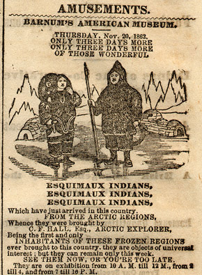 Barnum's advertisement for the 'Esquimaux Indians'.