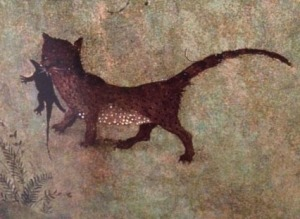 In the 'Paradise' wing of the 'Garden of Earthly Delights', a cat deals with some vermin.