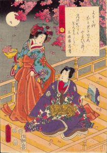 Viewing cherry blossoms by moonlight (1852), by Utagawa Kunisada.