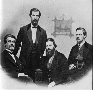 This 1870 image of Hall (third from left) is the only known photograph. It does resemble engravings of him which appear in earlier books.