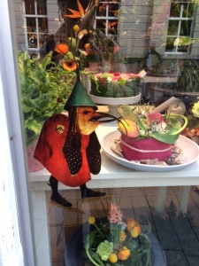 Here he is in a florist's window ...