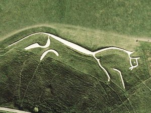 The Uffington White Horse, now nicely scrubbed up.