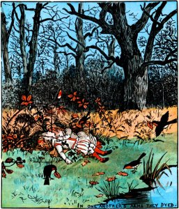 This illustration by Randolph Caldecott is one of a sequence for 'The Children in the Wood'.