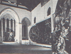 A contemporary photo of San Gregorio in the late 1960s. The pictures are Tintoretto's 'Presentation of the Virgin in the Temple' and 'Last Judgment', both from the church of the Madonna del Orto, restored after the floods by the efforts of the British charity Venice in Peril.