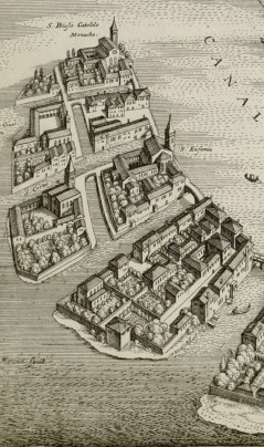 This 1650 map shows the location of Sant' Eufemia on Giudecca, and the now destroyed church of SS Biagio and Cataldo.