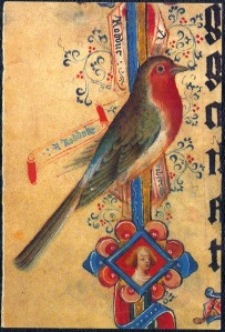 A medieval robin, in the margin of the Sherborne Missal, BL Add. MS 74236, p. 216. (c) The British Library Board.