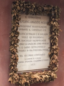 A plaque recording the visit of the 15-year-old Mozart to Venice.
