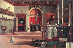 St Augustine and his dog hear a mystic voice announcing the death of St Jerome.