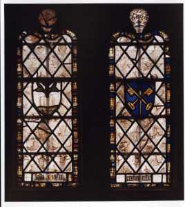 The bird windows, with the arms of St Peter's abbey, Gloucester.