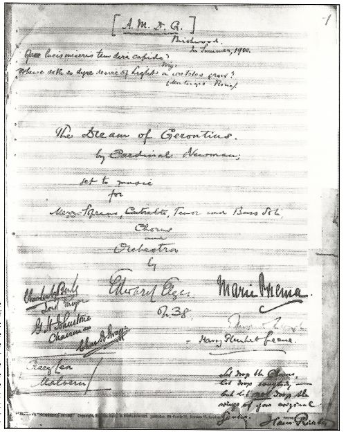 The title page of the score, presented by Elgar to the Birmingham Oratory. By coincidence, there's a programme about the score currently on BBC Radio iplayer: