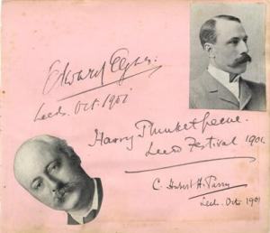 A leaf from an autograph book with the signatures of Elgar and Sir Hubert Parry. Harry Plunkett Greene, the Irish baritone, sang the Priest/Angel of the Agony at the premiere, but apparently was not on good form.