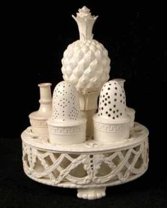 A Wedgwood 'Queensware' cruet set from about 1785. Queen Charlotte commissioned a creamware service from Wedgwood, and he subsequently renamed his own creamware as Queensware, a very astute marketing move. (Credit: Salisbury Museum)