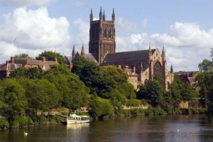 Worcester cathedral on the River Severn.
