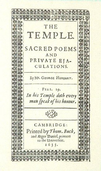 The title page of the first edition of The Temple.