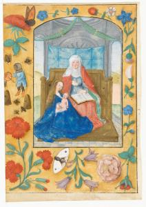 The Virgin, Child and St Anne. In the border, a kitted-up bee-keeper attends his hives above a stem of pinks in Marlay Cutting G 7a. (Credit: Fitzwilliam Museum, Cambridge)
