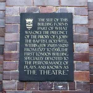 Memorial plaque to the Theatre at the site of the priory of St John the Baptist, Holywell.