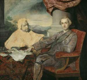 Reynolds, unfinished double portrait of Lord Rockingham and Edmund Burke. (Credit: Fitzwilliam Museum)