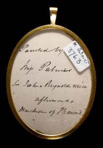 The back of the miniature, with the note on the artist. (Credit: The Fitzwilliam Museum)