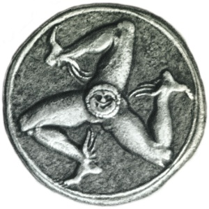 A silver coin from Syracuse, with the triskelion and Gorgon head.