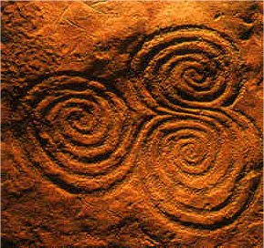 The famous triple spiral engraving from the Newgrange passage tomb in Ireland.