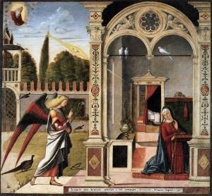 Carpaccio's 'Annunciation', now in the Ca d'Oro, Venice.