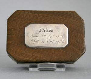 The top of the box, with silver plate giving the birth and death dates of Nelson. (Credit: The Fitzwilliam Museum)