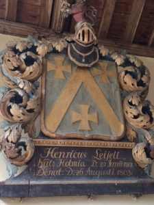 Henry Lyell's memorial in Bourn church: 'Nat. Holmia', 'born in Stockholm'.