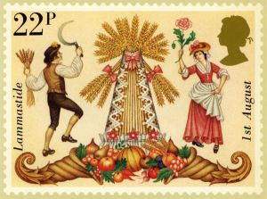This rather folksy postage stamp celebrating Lammas was issued in 1981.