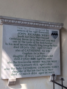 The memorial to John Richard and Catherine fourth Earl and Countess De La Warr.