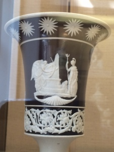 A Staffordshire vase, c.1806, commemorating the deaths of naval heroes Howe and Nelson.