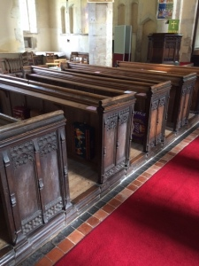 Wooden pews in the church ...