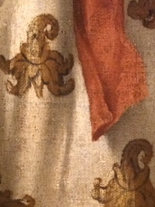 One of the Magi is wearing this lovely patterned silk, in an 'Adoration' by Bonifacio de' Pitati.