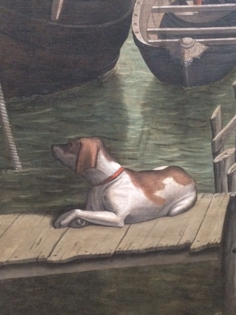 The dog on the gangplank, from the recent restored 'Arrival of the Pilgrims in Cologne'.