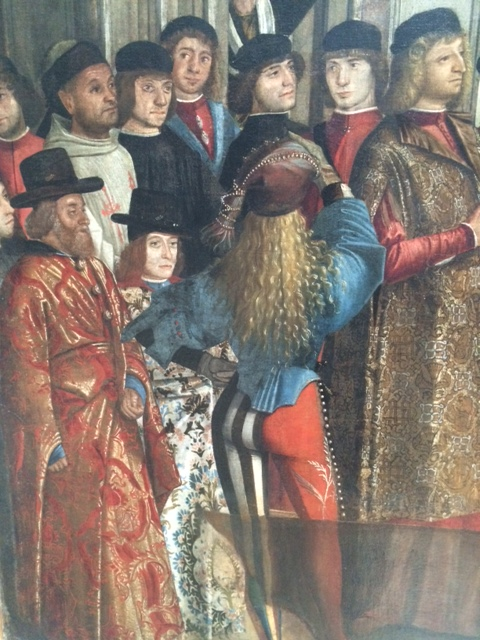 Where to start with Carpaccio? These fashionable gentlemen are bystanders at the 'Miracle of the True Cross on the Rialto'.