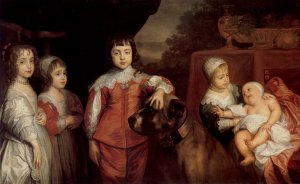 One version of Van Dyck's famous portrait of the children of Charles I.