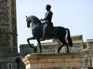 Gibbons' equestrian statue in the Upper Ward at Windsor Castle.