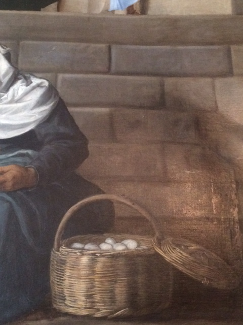 And finally: a basket of eggs, from Titian's 'Presentation of the Virgin in the Temple'. The old market lady is looking around to see what all the fuss is about, not realising that the child Mary, full of composure and grace, and bathed in the light of heaven, is mounting the temple steps above her.