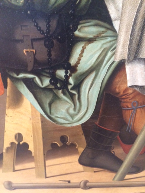 In 'Supper at Emmaus', by Marco Marziale, the stool on which one of the travellers is sitting, his boots, bag, staff and (anachronistic) rosary are also meticulously delineated.