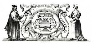 This early coat of arms of the Company shows William Lee and his frame machine. The woman on the right is allegedly the girlfriend or wife who knitted too slowly (or was more absorbed in her knitting than in him) for his taste, thus inspiring his invention.