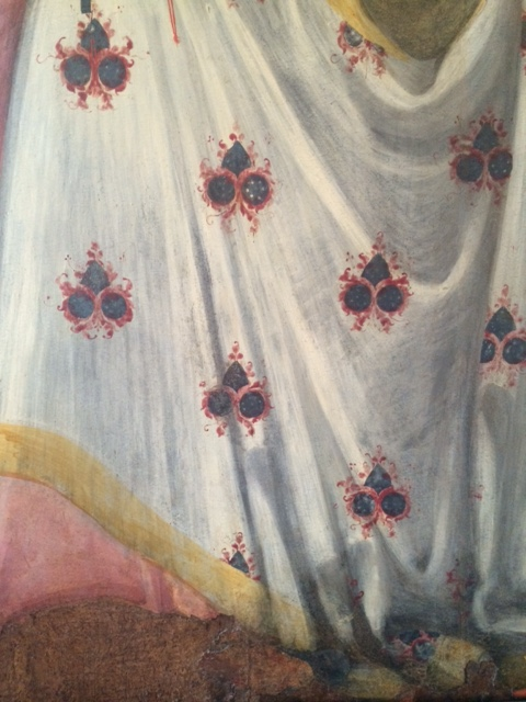 Detail of the Virgin's robe in a 'Madonna and Child' by the Maestro della Madonna del Parto, active around 1400. (I was disconcerted to hear a tour guide inform her French flock that thus was an eighteenth-century painting.)